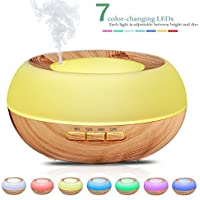 B-right 300lm Aroma Essential Oil Diffuser, Ultrasonic Cool Mist Air Humidifier with 7 Color Light Changing, 4 Timer Settings, 3 Mist Level Modes
