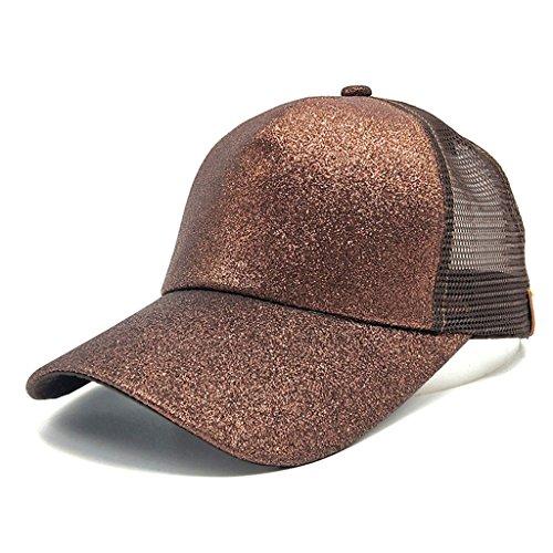 - Baseball caps chaofanjiancai Women Plain Hats Sequins Snapback Adjustable Ponytail Sun Caps Summer (Adjustable, Coffee)