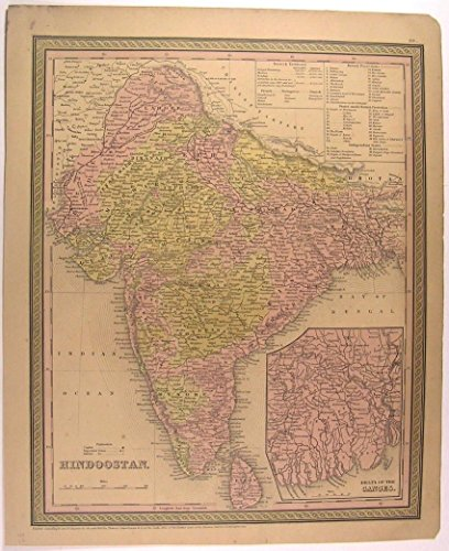 Hindoostan India Ganges River Delta Ceylon 1850 Mitchell antique color map