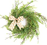 "Cheap Tiny Land 22"" Wreath for Front Door/Knotted Bow, Handcrafted Wicker Rattan Loop Frame 