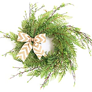 Tiny Land 22 Inches Spring Wreath for Front Door with Knotted Bow, Handcrafted Wicker Rattan Loop Frame | Faux Home Decorative Display | Rustic, Farmhouse Decor 49
