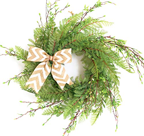 Wreath for Front Door with Knotted Bow, Handcrafted Wicker Rattan Loop Frame | Faux Home Decorative Display | Rustic, Farmhouse Decor ()
