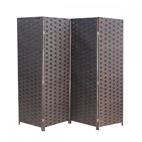- Wood Mesh Woven Design 4 Panel Folding Wooden Screen Room Divider