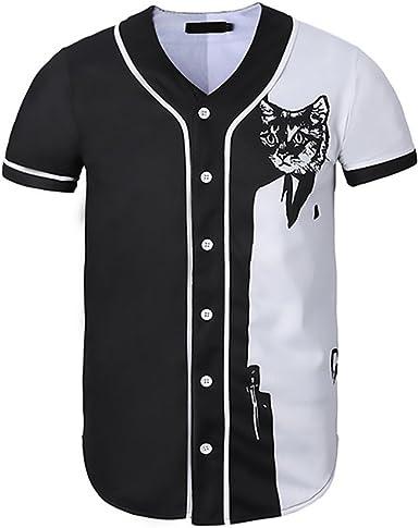 Tops Hombre Manga Corta V Cuello Un Solo Pecho Negro Blanco Splicing Camisas Verano Fashion Gatos Estampado Slim Fit Hip Hop Estilo Camisa Blusas: Amazon.es: Ropa y accesorios