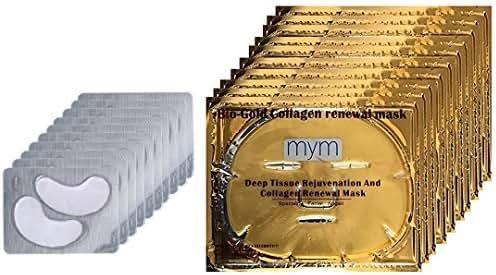 MyM 24k Gold Collagen Crystal Mask for Deep Tissue Rejuvenation and Collagen Renewal Mask(10pck of facial mask +10pck of eye mask
