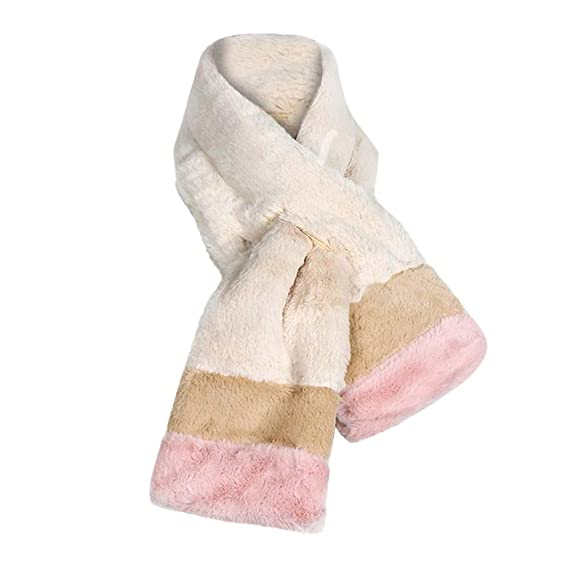 ❀ZTY66❀ Long Rectangle Faux Fur Warm Soft Furry Wrap Around Loophole Scarf for Women (Beige) at Amazon Womens Clothing store: