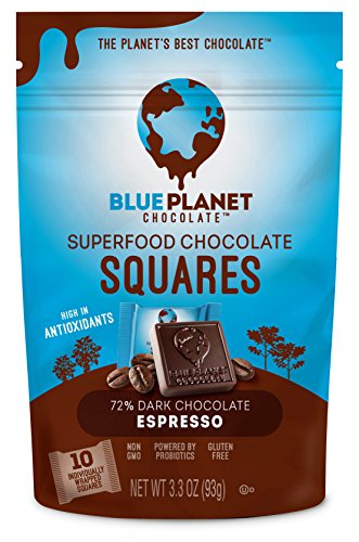 Blue Planet Chocolate Espresso Superfood Chocolate Squares with Probiotics (Pack of - Blue Foods Planet