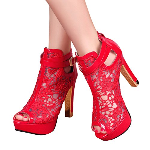 Getmorebeauty Womens Pretty Lace Flowers Open Toes High Heels Ankle Boots Red TlKXsiVG