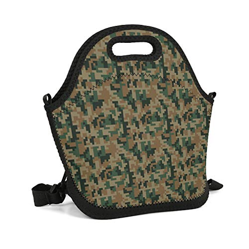 (HailinED Green Digital Desert Camo Portable Lunch Box Insulated Lunch Bag Reusable Carry Boxes Cooler Tote Bag for School Work Office Picnic Gym)