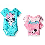 Disney Baby Girls' 3 Pack of Minnie Mouse Bodysuits, Pink, 3/6 Months