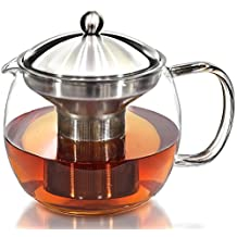 HONGJING Teapot Kettle with Warmer - Tea Pot and Tea Strainer Set Elegant Hand Blown Glass Teapot with Stainless Steel Infuser Holds 5 Cups