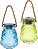 GreenLighting 2 Pack Solar Powered Mason Jar Light - Decorative LED Glass Table Light by (Green/Blue)