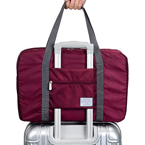 Arxus Travel Lightweight Waterproof Foldable Storage Carry Luggage Duffle Tote Bag (Wine Red)