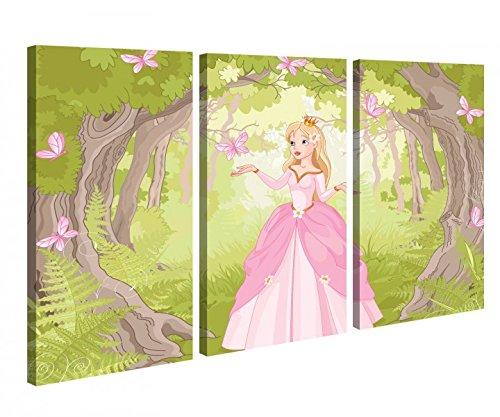 Leinwandbild 3 Tlg Prinzessin Märchen KInderzimmer Wald Schmetterlinge Leinwand Bild Bilder Holz fertig gerahmt 9P996, 3 tlg BxH 120x80cm (3Stk 40x 80cm)