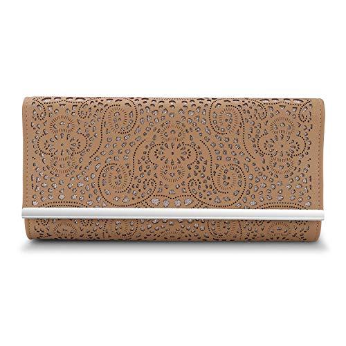 Clutch Bag Apricot - GESU Womens Faux Leather Envelope Clutch Bag Evening Handbag Shouder Bag With Chain Strap (apricot), Large