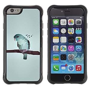 WAWU Funda Carcasa Bumper con Absorci??e Impactos y Anti-Ara??s Espalda Slim Rugged Armor -- bird art gray minimalistic blue -- Apple Iphone 6 PLUS 5.5