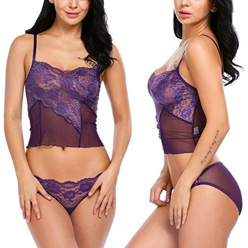 Avidlove Women Sleepwear Lace Trim Slim Fit Cami Top & Brief
