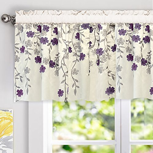 """DriftAway Isabella Faux Silk Embroidered Kitchen Swag Valance, Embroidered Crafted Flower, Single , 60""""x18""""+2"""