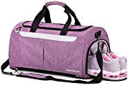 Sports Gym Bag by POPRUN, Workout Duffel Bag with Shoes Compartment & Wet Pocket for Men and Women – Durab