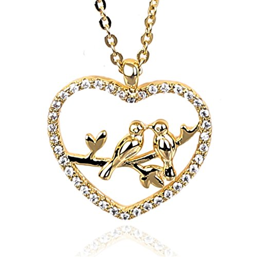 NickAngelo's Love Birds Heart Pendant Necklace 18K Gold Plated Elegant Fashion Jewelry For Women (gold-plated-copper, cubic-zirconia)