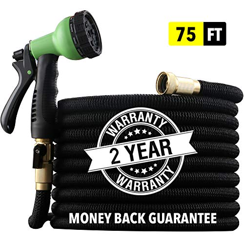 "[2019 NEW] HEAVY DUTY 75 ft Non-Kink Expandable Garden Hose, 10-PATTERN Spray Nozzle INCLUDED, 3/4"" Brass Fittings with Shutoff Valve, STRONGEST EXPANDABLE 75 foot HOSE – 2 YEAR WARRANTY – BLACK"