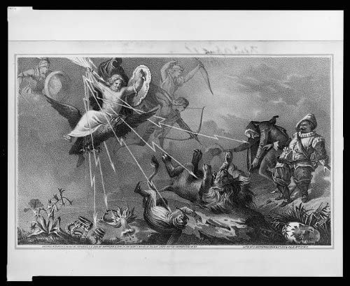 1868 Photo Jupiter, clutching thunderbolts and carrying a shield, descends to earth on the back of an eagle; he strikes down with the thunderbolts figures representative of authority and folly // lith
