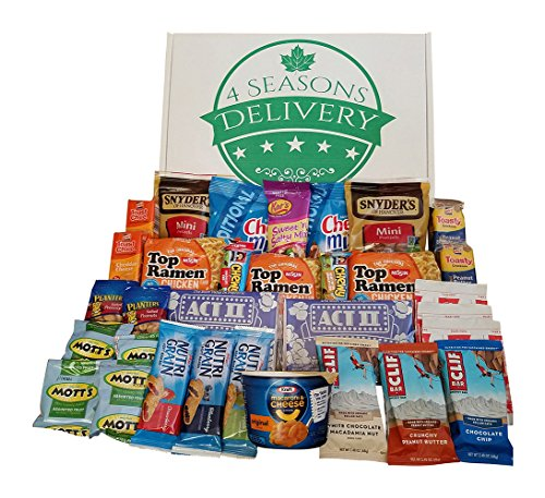 College Snack Gift Package, Military Care Package, Birthday and Holiday Food Gift Box, 4 SEASONS DELIVERY, 32 Count by 4 SEASONS DELIVERY