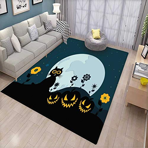 Halloween Extra Large Area Rug Cute Cat and Lanterns Moon on Floral Field with Starry Night Sky Star Cartoon Art Bath Mat for tub Blue Black