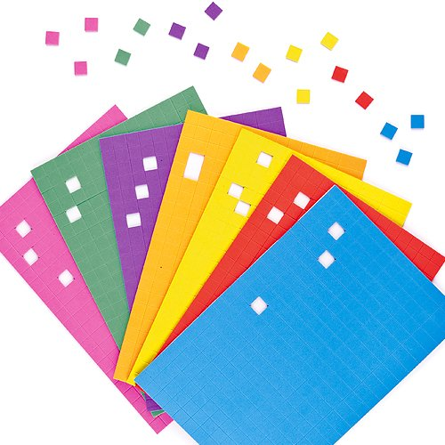 Baker Ross Self-Adhesive Foam Mosaic Squares (1440) For Kids Arts and Crafts