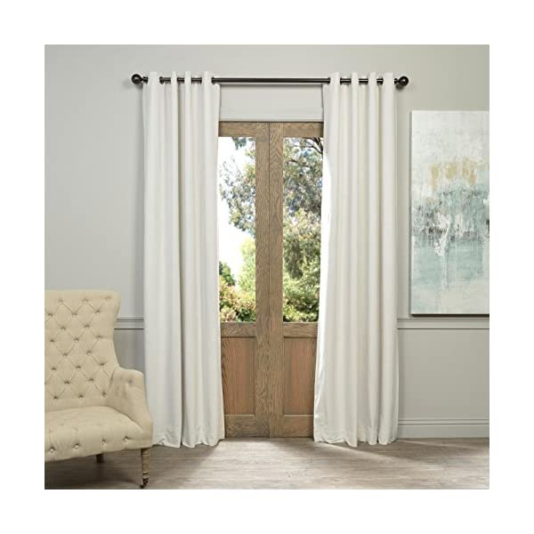 Half Price Drapes VPCH-110602-84-GRBO Signature Grommet Blackout Velvet Curtain, Off White, 50 X 84