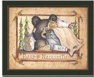 Bear cabin bath room country decor art print for Bathroom paintings amazon