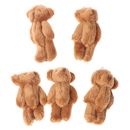 shyln Kawaii Small Bears Plush Soft Toys 5PCS Pearl Velvet Dolls Gifts Mini Teddy Bear for Kids Gift (Brown) from shyln