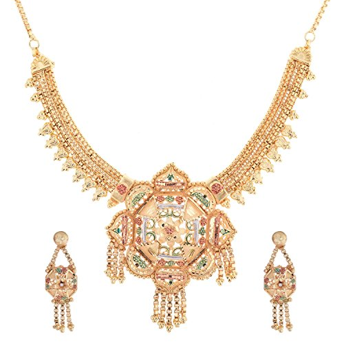 Handicraft Kottage Girl's Gold Plated Necklace Set with Earrings by Handicraft Kottage