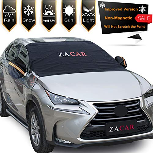 Windshield Snow Cover , ZACAR Windshield Cover with Mirror Covers for All Seasons , Blocking the heat of the sun, blocking snow, fallen leaves, bird excrement . Elastic Hooks Design Will Not Scratch Paint , Fits Most Cars, Easy to Install (L-85 x 49 inches)