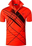 jeansian Men's Sport Quick Dry Short Sleeves Polo Tee T-Shirt LSL226 Orange L