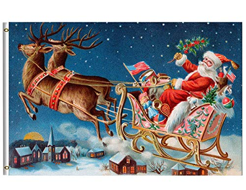 Wamika Merry Christmas Flag 3x5 FT Winter Holiday Vintage Santa Sleigh Deer Flying Snow Village Night Garden Yard House Flags Banner with Brass Grommets Indoor Outdoor Party Christmas Decorations