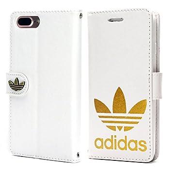 10cdecef11 手帳型 adidas アディダス iPhone7 plus iPhone8 plus (5.5inch) ホワイト 金ロゴ レザー