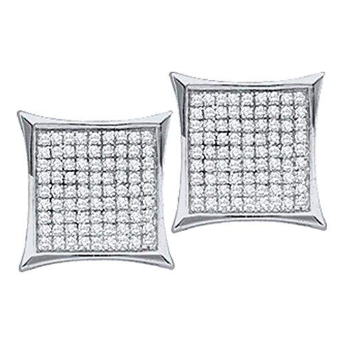 Kite Gold 14k (Roy Rose Jewelry 14K White Gold Ladies Diamond Square Kite Cluster Earrings 1/3 Carat tw)