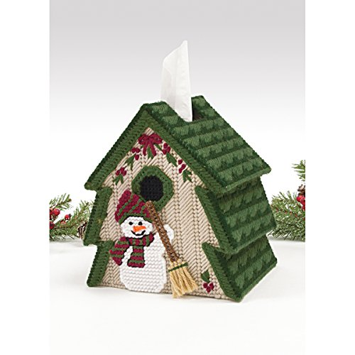 Tree and Snowman Tissue Box Cover Plastic Canvas Kit