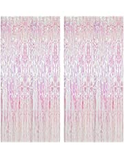 SINGOMON 2PCS Iridescent Transparent Rainbow Foil Fringe Curtain Metallic Photo Booth Props Tinsel Backdrop Door Curtains for Wedding, Birthday, Baby Shower, Bachelorette, Bride Shower, Engagement Celebration Party Decorations(1x2m)