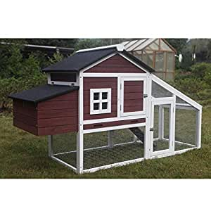 Large Wooden Chicken Hen Coop Rabbit Hutch Guinea Pig Ferret Cage 046