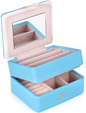 LELADY Caja Joyero Pequeña para Mujer, Joyero Viaje Cajas para Anillos, Aretes, Pendientes, Pulseras y Collares (Azul): Amazon.es: Hogar