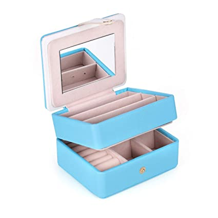 2e0b4d01faf19 JL LELADY JEWELRY Small Jewelry Box Mini Travel Jewelry Case Built in a  Mirror and Closes with a Snap, Portable PU Leather Jewelry Organizer Box ...