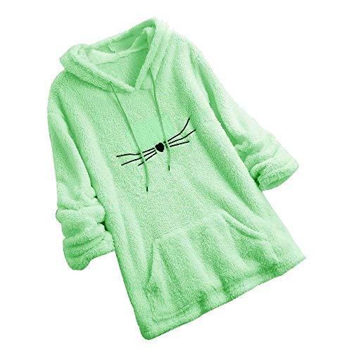 Sweat Mignon Chandail Sweat Pull Fuzzy Molletonné Chat Chaud Manches Femme shirt Longues Vert Chic Forme À Walaka Sweatshirt SfzZc