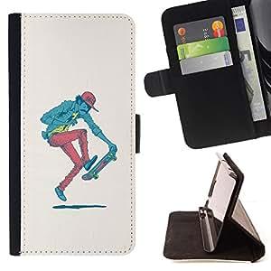 KingStore / Leather Etui en cuir / Samsung Galaxy S4 Mini i9190 / Hipster Skater - Pop Art