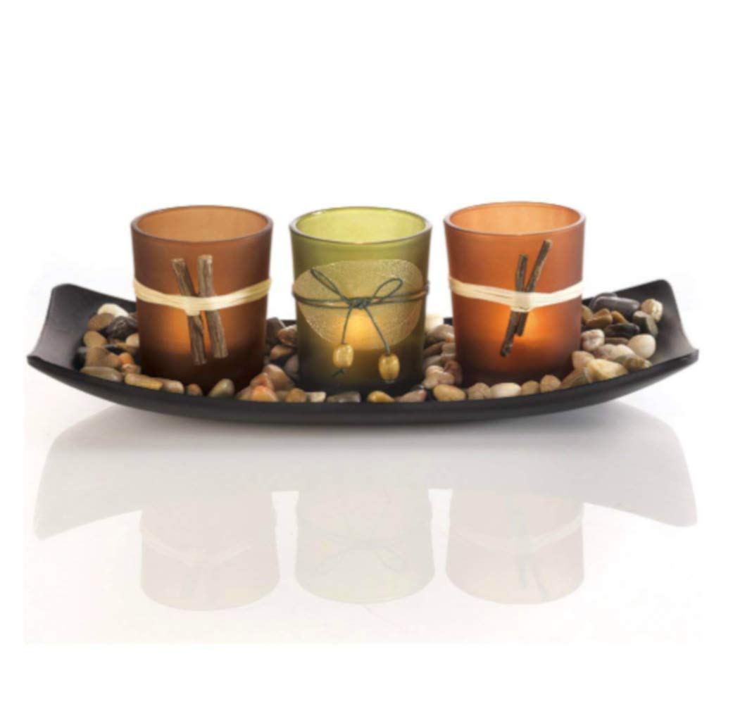 Decorative Candle Set with Tray and Rocks, Premium Quality, Curved Tray, Colors in Earth Tones, Living Room Decoration, Wooden Tray, 3 Glass Holders, Stylish Design & E-Book Home Décor
