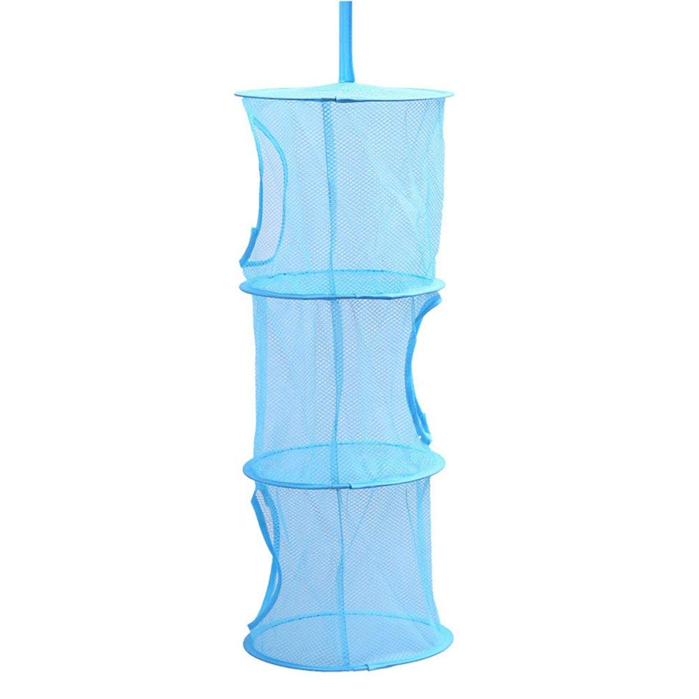3 Shelf Cylindrical Hanging Storage Net Bedroom Wall Door Closet Kids Toy Organizer Bag Home Baskets (Color : Blue, Size : -) by Oudan