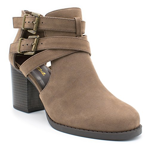 with Out Ts Of and Ankle Low Fashion Bootie Women's Brown Cut Room Design Heel Side wX1vgBx