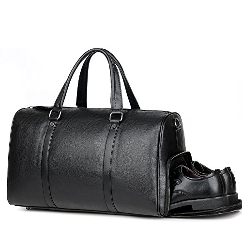 Men Leather Small Travel Weekender Overnight Small Duffel Bag Compartment Business Gym Sports Black