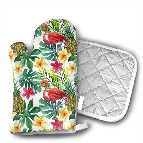 GUYDHL Unisex Oven Mitt and Pot Holder for Flamingo Pineapple - 2 Pair